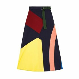 Chinti & Parker Navy Abstract Cotton-jersey Skirt