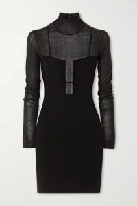 Hervé Léger - Jersey-paneled Bandage Turtleneck Mini Dress - Black