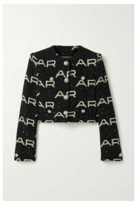 Alessandra Rich - Cropped Sequin-embellished Cotton-blend Tweed Jacket - Black