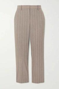 Theory - Cropped Pinstriped Wool-blend Slim-leg Pants - Beige