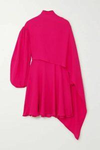 Valentino - Cape-effect Tie-neck Silk-chiffon Mini Dress - Pink