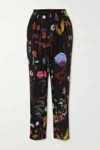 Stella McCartney - Christine Floral-print Silk-crepe Straight-leg Pants - Black