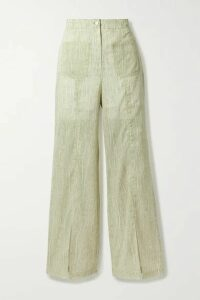 Andersson Bell - Messi Printed Cotton-blend Voile Wide-leg Pants - Light green