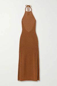 Cult Gaia - Karen Crocheted Cotton-blend Halterneck Maxi Dress - Light brown