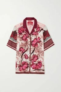 F.R.S For Restless Sleepers - Homonoia Floral-print Silk-twill Shirt - Burgundy