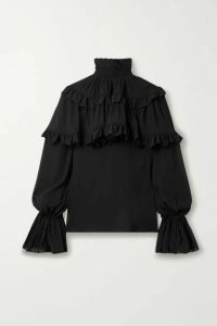 SAINT LAURENT - Ruffled Tiered Silk-chiffon Blouse - Black