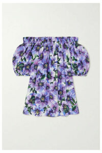 Dolce & Gabbana - Off-the-shoulder Floral-print Cotton-poplin Top - Purple