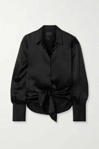Nili Lotan - Janet Tie-front Silk-charmeuse Shirt - Black