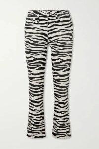 R13 - Kick Fit Cropped Zebra-print High-rise Flared Jeans - Zebra print