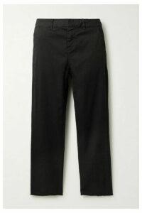Nili Lotan - Montauk Cropped Frayed Stretch-cotton Twill Slim-leg Pants - Black