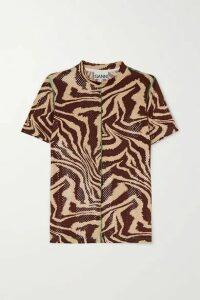 GANNI - Zebra-print Stretch-jersey T-shirt - Zebra print