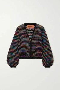 Missoni - Metallic Striped Crochet-knit Cardigan - Black