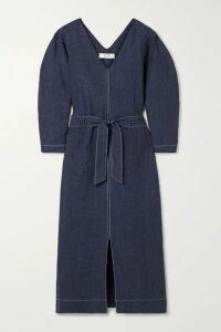 Sea - Maxine Tie-front Linen Midi Dress - Indigo