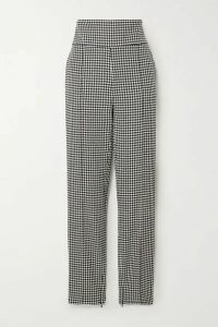 Alexandre Vauthier - Houndstooth Cotton-blend Slim-leg Pants - Black