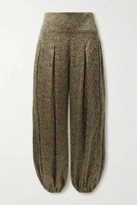 Nili Lotan - Ibiza Pleated Leopard-print Silk Crepe De Chine Pants - Leopard print