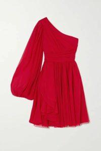 Giambattista Valli - One-sleeve Draped Silk-georgette Dress - Red