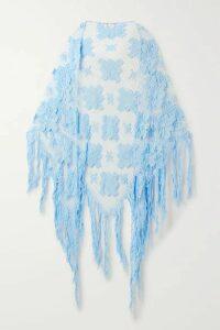 Miguelina - Majandra Fringed Crocheted Cotton Shawl - Light blue