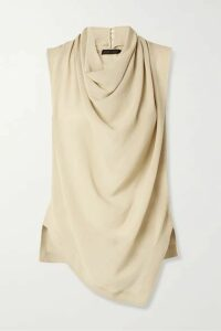 Proenza Schouler - Draped Silk-georgette Top - Taupe