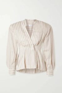 TRE by Natalie Ratabesi - Striped Cotton And Linen-blend Voile Blouse - Ivory