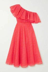Giambattista Valli - Ruffled One-shoulder Embroidered Silk-organza Midi Dress - Coral