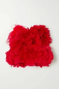 Christopher John Rogers - Feather-trimmed Cotton Bustier Top - Red
