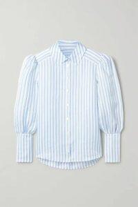 Veronica Beard - Ally Striped Linen, Silk And Modal-blend Blouse - Light blue