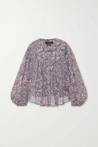 Isabel Marant - Orionea Pintucked Floral-print Silk-georgette Blouse - Blue
