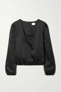 Cami NYC - The Katy Wrap-effect Lace-trimmed Silk-satin Blouse - Black