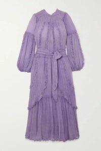 Ulla Johnson - Sabina Ruffled Crinkled Silk-georgette Maxi Dress - Lilac