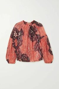 Ulla Johnson - Sanya Printed Fil Coupé Silk And Lurex-blend Blouse - Orange