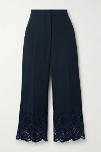 Lela Rose - Cropped Broderie Anglaise Cotton-trimmed Crepe Wide-leg Pants - Midnight blue