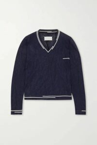 Maison Margiela - Two-tone Crinkled Metallic Knitted Sweater - Navy