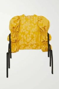 Dries Van Noten - Cardi Tie-detailed Gathered Floral-brocade Blouse - Yellow