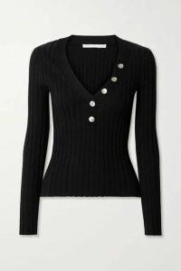 Veronica Beard - Juliana Ribbed Stretch Cotton-blend Top - Black