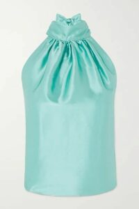 HARMUR - Open-back Silk-satin Halterneck Top - Turquoise
