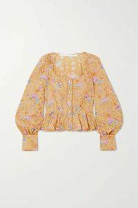 Anna Mason - Rosemary Floral-print Cotton-poplin Peplum Blouse - Mustard