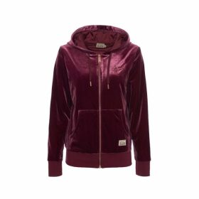 Evisu Velour Zip-up Hoodie With Kamon Embroidery