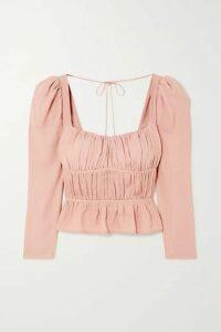 Reformation - Plath Shirred Crepe Blouse - Blush