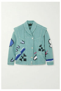 Isabel Marant - Erial Oversized Convertible Embroidered Denim Jacket - Gray green