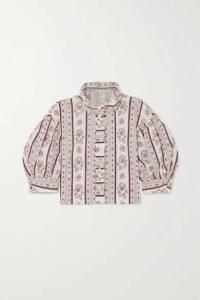 Anna Mason - Agnes Cropped Floral-print Cotton Blouse - Gray