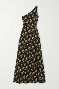 Reformation - Evelyn One-shoulder Floral-print Georgette Maxi Dress - Black