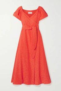 Mara Hoffman - Adelina Organic Cotton And Linen-blend Wrap Midi Dress - Orange