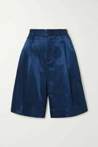 STAUD - Noat Cotton-blend Sateen Shorts - Navy