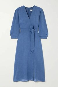 Cefinn - Lily Wrap-effect Belted Voile Midi Dress - Light blue