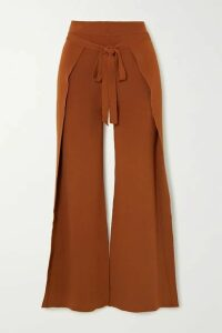 Cult Gaia - Abigail Tie-front Layered Knitted Straight-leg Pants - Bronze