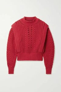 Isabel Marant - Prune Ribbed Pointelle-knit Sweater - Crimson