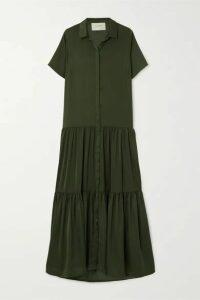 MUNTHE - Eillish Tiered Washed-satin Maxi Dress - Army green