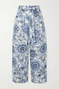 Erdem - Everett Cropped Floral-print Linen Wide-leg Pants - Blue