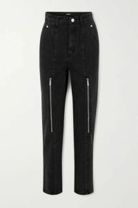 we11done - Zip-embellished High-rise Tapered Jeans - Black