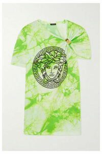 Versace - Gathered Printed Tie-dyed Cotton-jersey T-shirt - Green